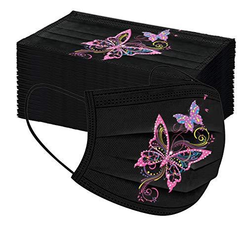50 Piezas Adulto Estampado Flores De Mariposas Respirable Mascarilla_Desechable sz315
