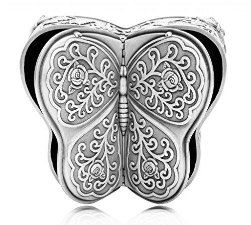 Infinite U Lujoso Forma de Mariposa Rosas grabadas Mujer Estaño Puro Joyero Baratija Caja Antiguo Plateado