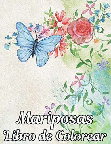 Mariposas Libro Colorear: aliviar el estrés 50 diseños de mariposas de una cara Libro de colorear de animales Mariposas Regalo perfecto para niños y niñas Todas las edades Adultos Libro de colorear