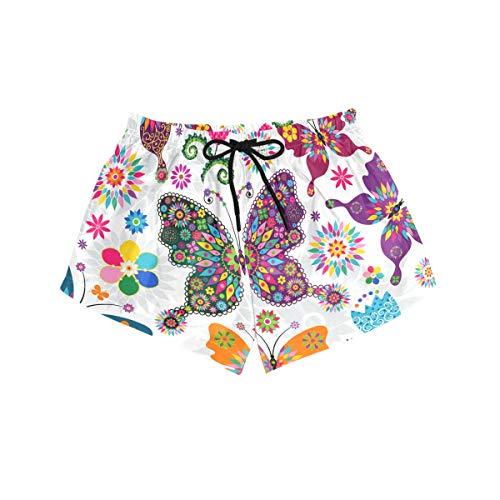 BONIPE - Bañador para Mujer, diseño de Mariposas y Flores, Secado rápido, con cordón y Bolsillos, Talla S Multicolor Multicolor M