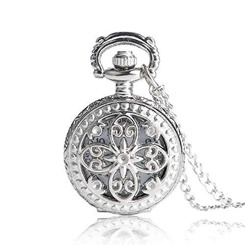 ZJZ Vintage Reloj de Bolsillo Regalo Antiguo Vintage Mariposa Hueco Collar Largo Colgante Cuarzo Vintage Reloj de Bolsillo