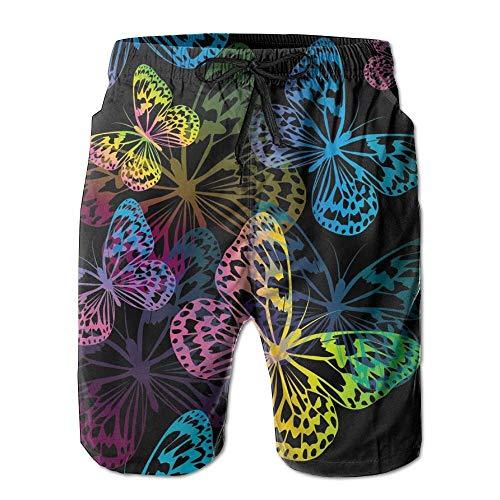 RROOT - Bañador para hombre, diseño de mariposas, cómodo para verano, surf, secado rápido, pantalones cortos de playa con bolsillo Blanco blanco Large