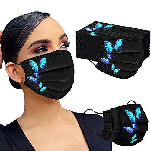 Mumustar 50 mascarillas desechables para adultos negra Serie de elementos de mariposa, agradable a la piel y cómodo Adecuado para salir, ir de fiesta (F)