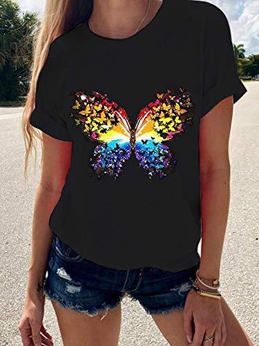 ZZFF Camisetas de manga corta con estampado de mariposa y cuello alto (color: negro, talla: S)