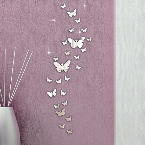 FAMILIZO 30Pc Mariposa CombinacióN 3D Espejo De Pared Pegatinas DecoracióN del Hogar De La DecoracióN De DIY
