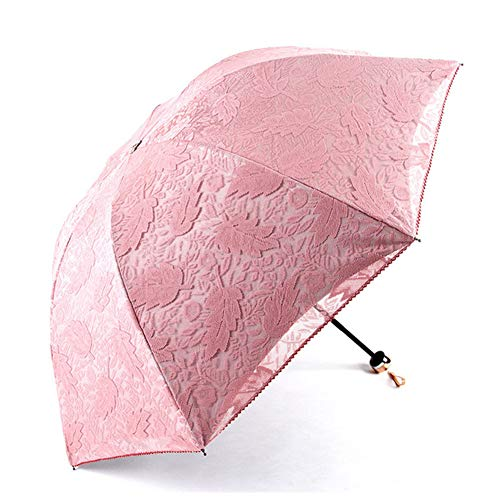 Foldable Umbrella Paraguas Plegable, Chica Paraguas Mujeres Lluvia Mariposa Paraguas de Hadas Paraguas de Encaje Mujer Parasol Regalo,Pink,3Pcs