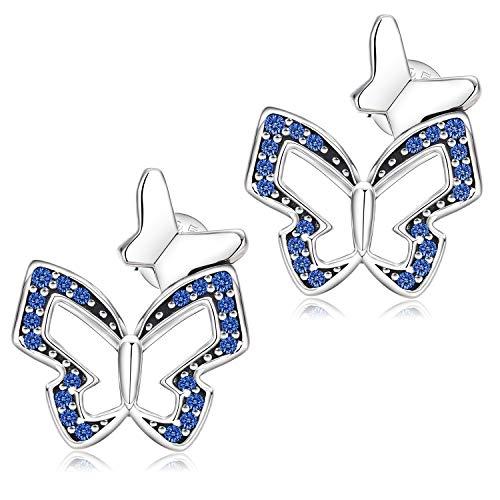 Pendientes de Mujer, Pendientes de Mariposa de Circonita Cúbica de Plata de Ley 925, Pendientes de Botón de Plata para Mujeres y Niñas, Los Mejores Regalos de Joyería para Ella (Azul)