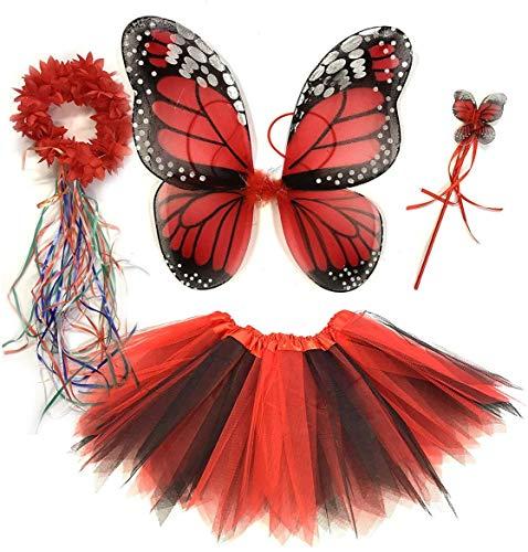 Tante Tina - Disfraz de Hadas Mariposa - Alas, Falda tutú, Varita mágica y Diadema - Monarca Rojo