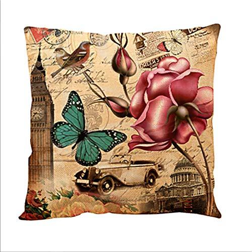 IHOMEIS Fundas de cojín cuadradas decorativas vintage con diseño de mariposa, diseño de flores y animales