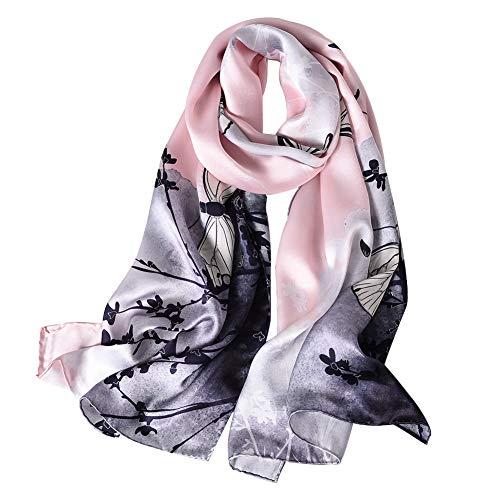 STORY OF SHANGHAI Bufandas de 100% Seda Flores Pañuelo de Morera Grande Mujer Chal Wraps Estolas Madre y Regalos Alta 170cm*55cm,Mariposa Púrpura
