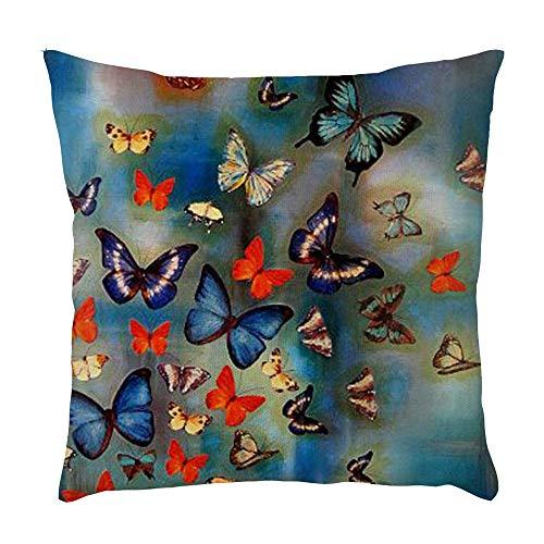 Watopi - Funda de cojín (45 x 45 cm), diseño de Mariposas, Color Azul Marino