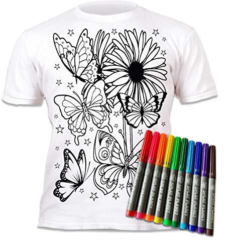 Splat Planet Camiseta de colores con mariposas y flores con 10 bolígrafos mágicos no tóxicos lavables – Camiseta de color y lavado, blanco, 12-13 Años