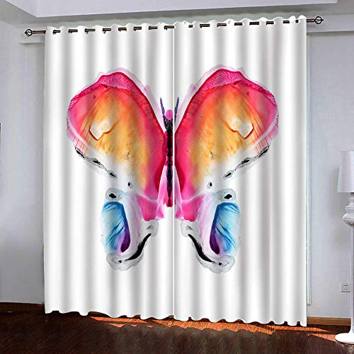 PERFECTSHOMES 2 Paneles Aislantes Opacas Cortinas Baño Originales, Mariposa De Color, Dormitorio Moderno Insonorizadas Salon Cortinas Salon Modernas, H245Xw340Cm*2