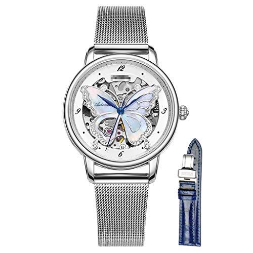 DLT Las Mujeres se enrollan a la Moda. Reloj Mujer, Cara ahuecada de la Mariposa. Relojes de señora con Banda de Malla milanesa. Reloj analógico Impermeable de 50 m. (Color : La Plata)