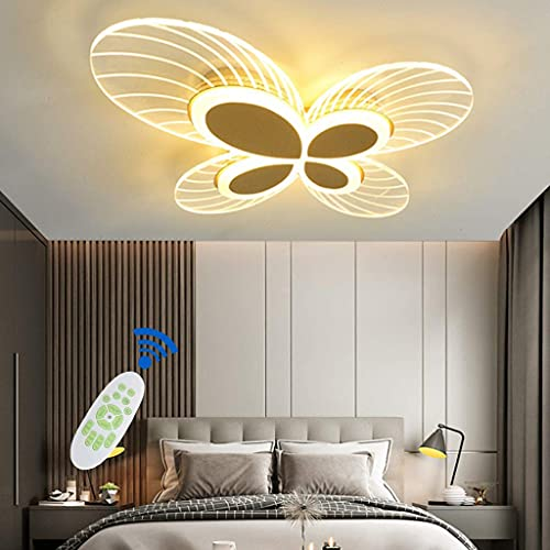 BABYCOW Lámpara de Techo de Dibujos Animados Modernos Luz de Techo de Mariposa LED Luz de Techo para habitación de niños Control Remoto Regulable (3200K-6500K) Pantalla de acrílico Iluminación de es