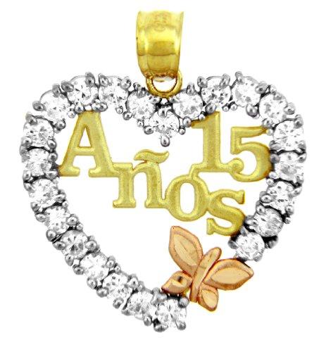 El 14 quilates 585/1000 Oro 'Sain 15 'Oro Aniversario En circonio Cúbico Con Mariposa Colgante collar (Libro Con Cadena 45cm)