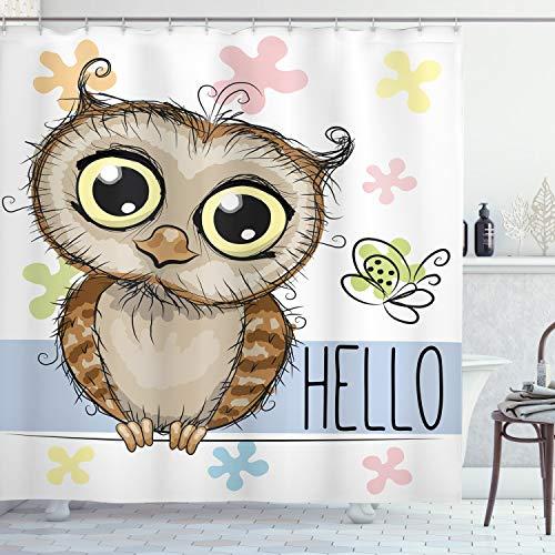 ABAKUHAUS búhos Cortina de Baño, Mariposa de la Historieta Hola, Material Resistente al Agua Durable Estampa Digital, 175 x 180 cm, Multicolor