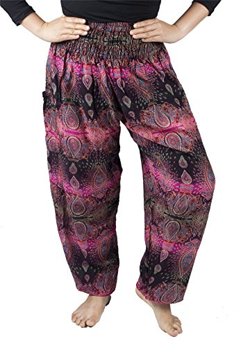 Lofbaz Mujer Vistoso Floral Smocked Cintura Harén Pantalones Oval Rosa Size 3XL
