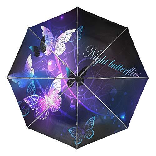 Wamika Paraguas automático de Mariposas nocturnas con Brillo, a Prueba de Viento, Resistente al Agua, protección UV, 3 Pliegues de Apertura y Cierre automático, Paraguas de Coche para Sol y Lluvia