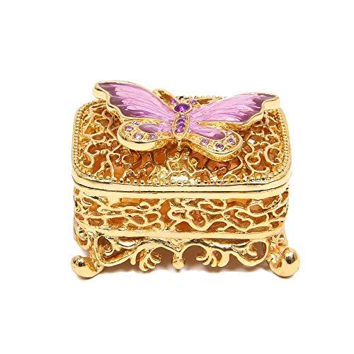 CHQSMZ Joyero Marca Exquisita Delicada Forma de Mariposa Hueco para joyero de baratija