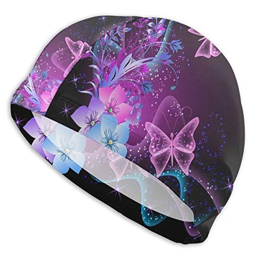 Uosliks Gorros de baño Mariposas y Flores púrpuras1 Gorro de baño, Gorro de baño de Pelo Corto para Mujeres y Hombres