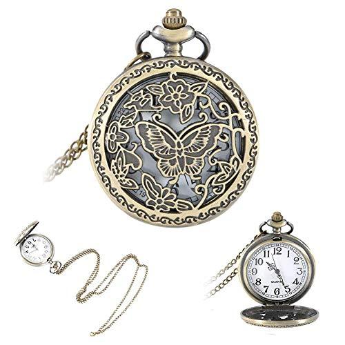 ZJZ Reloj de Bolsillo Flor de Mariposa Cubierta ahuecada Reloj de Bolsillo de Cuarzo Collar Colgante Cadena de suéter Regalos