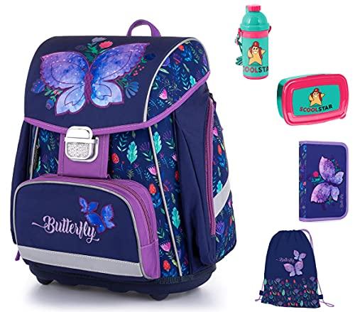 Juego de mochila y accesorios escolares con mariposas para niña, 1 clase, juego de 6 piezas para la escuela primaria, muy ligero, incluye estuche de plumas, bolsa de deporte A4, caja de pan y botella.