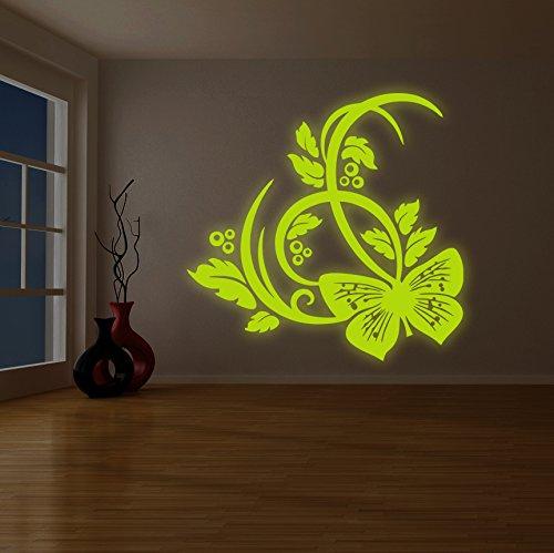 (200x 200cm) Glowing-Vinilo adhesivo decorativo para pared de flores y mariposas/brilla en la oscuridad Naturaleza/luminiscente bonito hogar habitación mural + Gratis Adhesivo Regalo
