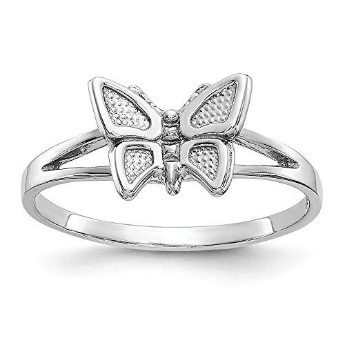 DIAMOND2DEAL INC Anillo de Oro Blanco de 10 K con Mariposa para cóctel, tamaño 5