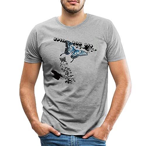 Camiseta De Los Hombres De Algodón De La Mariposa Spin Die Graphic Impreso De Manga Corta Casual Tops Gris gris Small