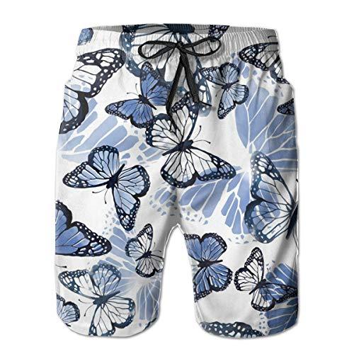 Acuarela Mariposa Hombre Bañador Surf Tabla de Secado Rápido Pantalones Cortos de Playa Cordón Cintura Elástica con Bolsillos L