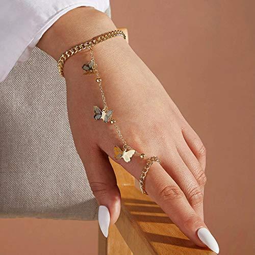 Handcess Pulsera de mariposa bohemia dorada con anillos de dedo para mujeres y niñas
