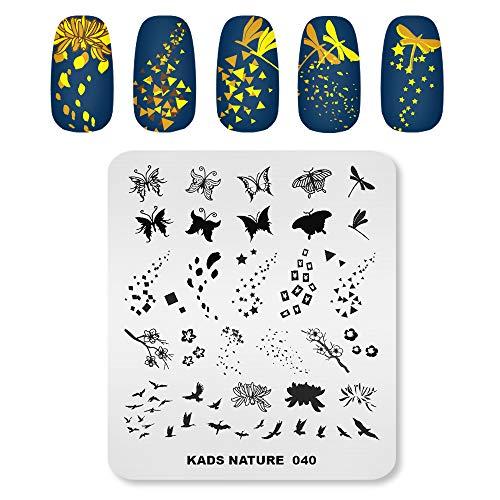 KADS Plantilla de uñas de la naturaleza de la placa de estampado de la mariposa libélula, hojas caídas de la imagen del arte de uñas DIY herramienta de manicura (NA040)