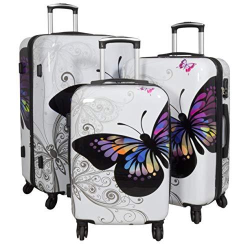 Warenhandel König 165527–Juego de maletas rígidas de policarbonato ABS, 3piezas, Juego de maletas, maletas de viaje, equipaje de mano, maletas con ruedas rígidas, con estampado Multicolor Butterfly Weiß XL L M