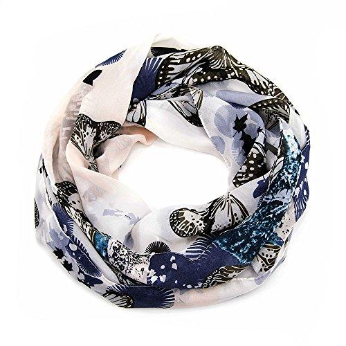 Pañuelo de cuello para mujer de Manumar, en diferentes colores con diseño de mariposa, como accesorio perfecto para otoño e invierno, bufanda de mujer, bufanda redonda, idea de regalo para mujeres 1 gris v2. Talla única