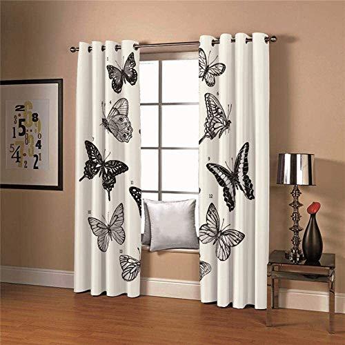 Cortinas opacas para oscurecer la habitación, color blanco y negro, con bloqueo de mariposas, para decoración del hogar, cortinas térmicas para cocina, sala de estar, dormitorio (tamaño: 336 x 229 cm)