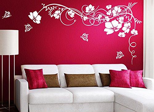 Gran Dora w829–Adhesivo de flores con mariposas, vinilo, turquesa, 190 x 104 cm