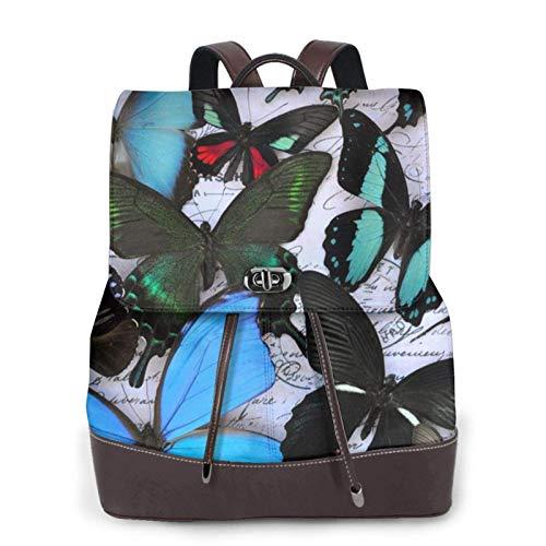 Mochila de piel para mujer, estilo casual, duradera, para la escuela, con estampado de mariposas, bolso de hombro