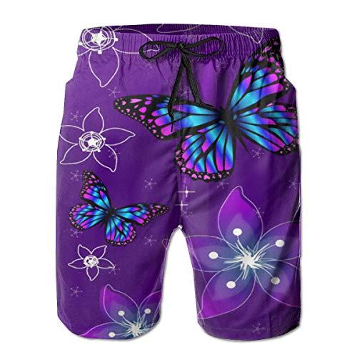90ioup - Bañador para hombre, diseño de mariposa, color morado Blanco blanco XXL