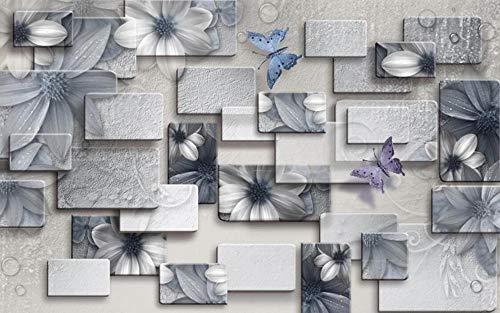 Fotomurales 3D Papel Pintado Pared Mariposa Flor Cuadrada Geométrica Papel Pintado Salón Dormitorio Despacho Pasillo Decoración de Pared Decorativos Murales 430x310cm