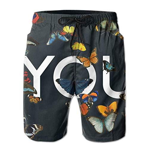 lkjhgfds Varias Mariposas Bañadores Divertidos Ropa de Playa de Secado rápido Deportes Correr Nadar Pantalones Cortos Forro de Malla