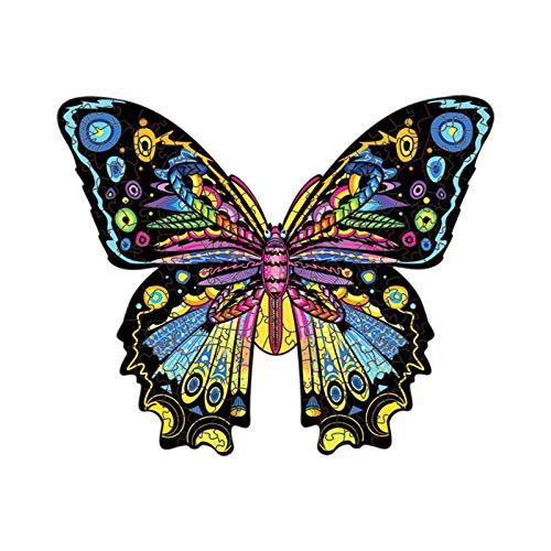 N\C Rompecabezas De Mariposa De Madera En Forma De Rompecabezas De Animales Irregulares Rompecabezas De Madera Empaquetado Exquisito 11.8 × 14.3 Pulgadas (30X36.4CM) 300 Piezas