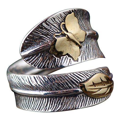 Anillo de pluma de plata de ley 925 con mariposa dorada para mujeres y hombres ajustable 15-25