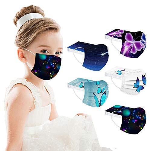 50 Unidades 𝐷𝑒𝑠𝑒𝑐ℎ𝑎𝑏𝑙𝑒𝑠 𝗠𝗮𝘀𝗰𝗮𝗿𝗶𝗹𝗹𝗮𝘀 Niños Infantiles, 3 Capas con Pendientes Elástico, Impresión única, 14.5x9.5 cm (Estampado de mariposas)