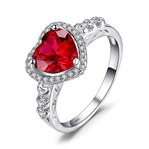 JewelryPalace Anillo con rubí en forma de corazón Plata de ley 925 Tamaño 17