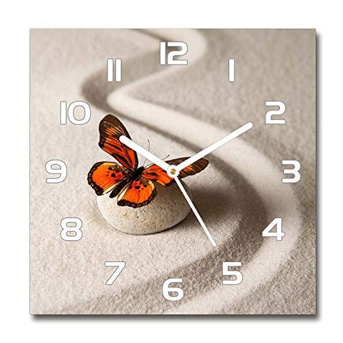 Tulup Reloj De Pared De Vidrio 30x30 Silenciosa Grande Original Moderno Decorativo Manecillas Blancas - Piedra De Zen Y La Mariposa