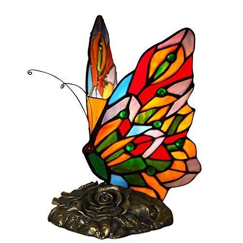 World Art TW60003 Lámparas De Estilo Tiffany Mariposa, 23x15x16 Cm