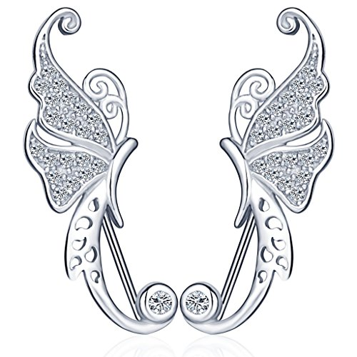 Infinite U - Pendiente único para oreja de mariposa, de plata de ley 925 con circonia cúbica para mujeres/niñas, plateado
