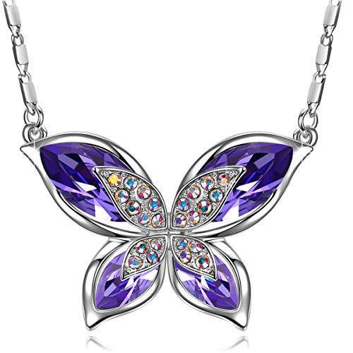 J.RENEÉ Colgante Mujer, con Cristal de Austria, Joyas para Mujer, Regalos Mujer, Collar Mariposa Púrpura