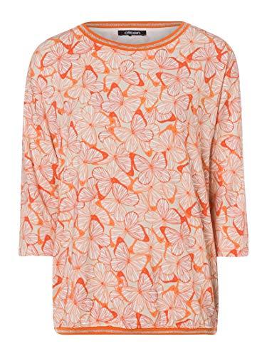 Olsen Camiseta de cuello redondo para mujer con estampado de mariposas. Deep Orange 42